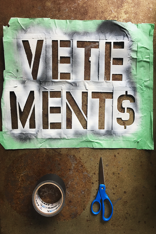 #DownWithVetements mobile stencil kit