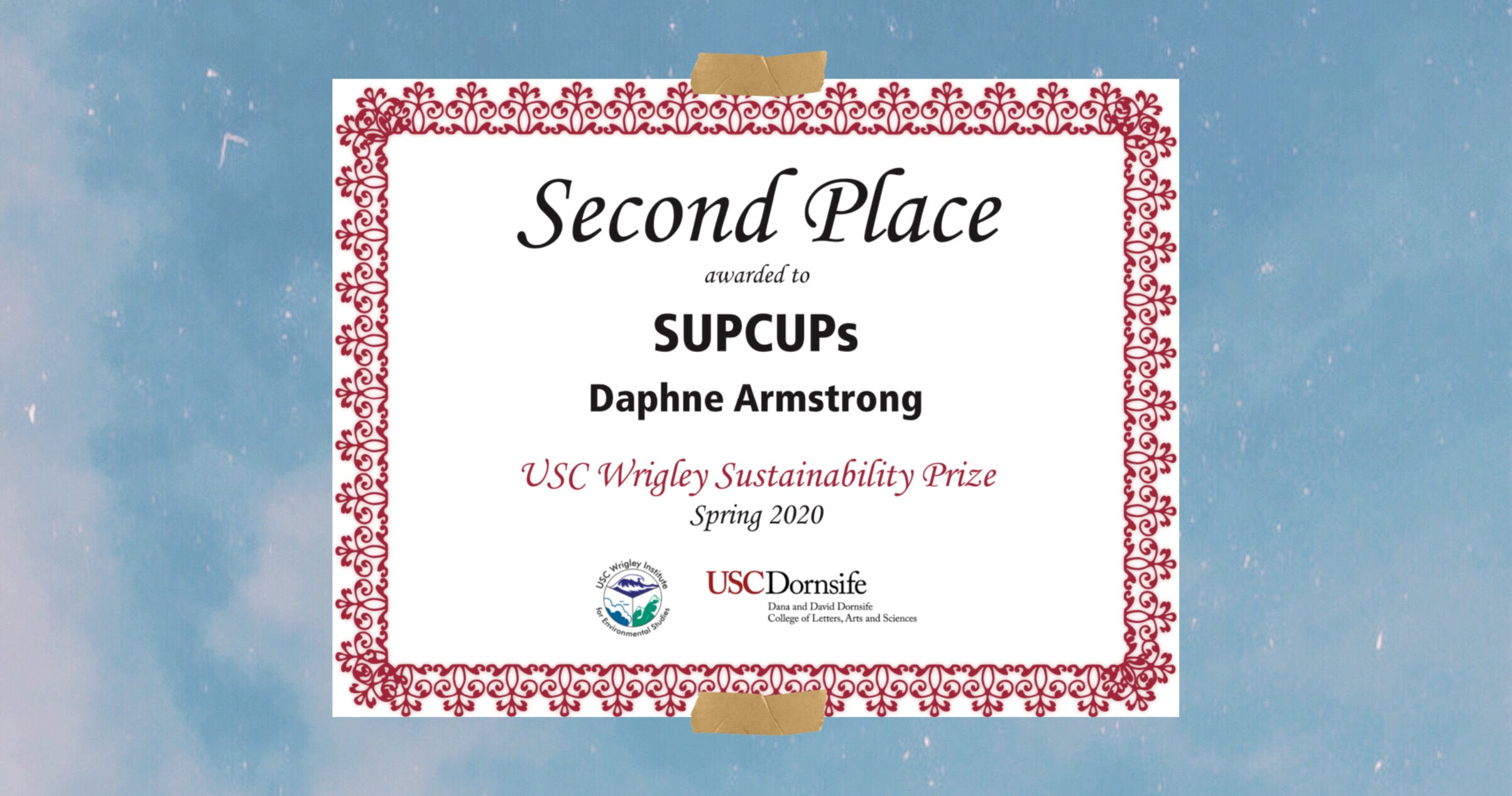 Certificate for USC wrigley sustainability prize