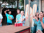 friends having fun on gameday, football, USC, rage cage, beer pong, happy, sunny