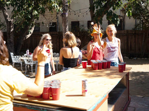 beer pong, sustainable party cups, white claw, gameday
