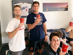 Load image into Gallery viewer, three frat boys smiling holding party cups
