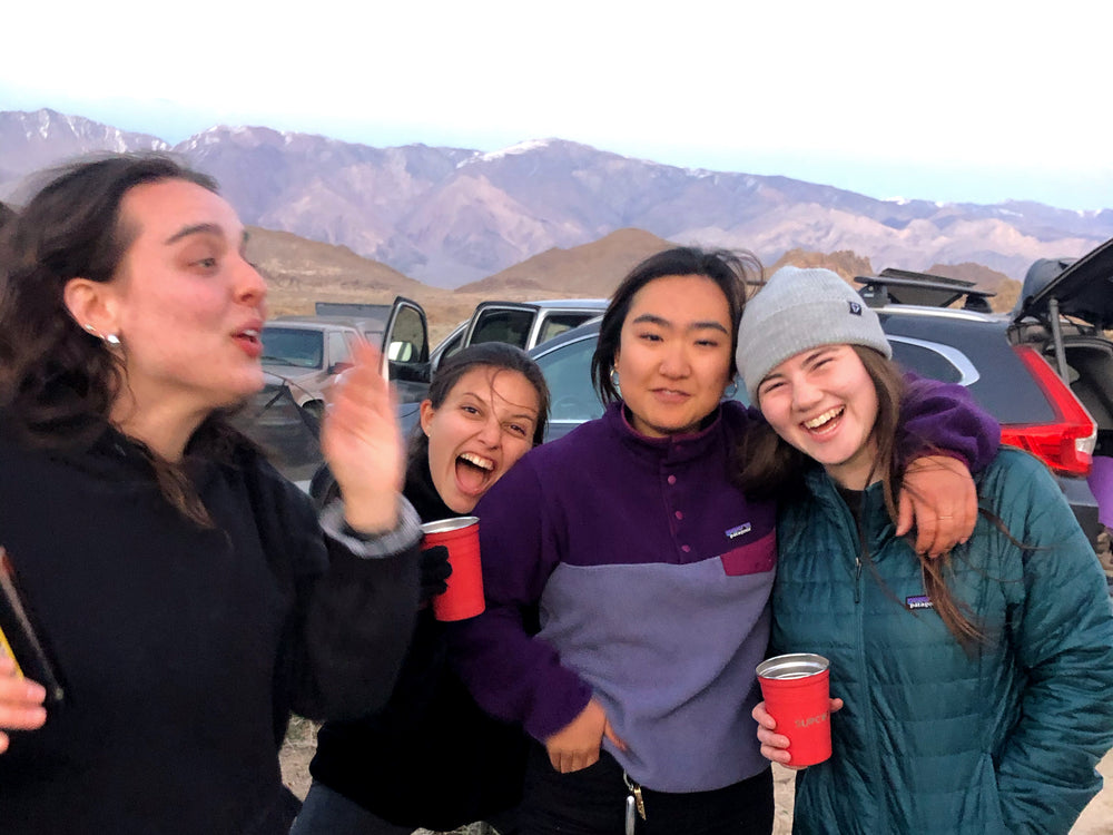 laughing friends, mountains, camping