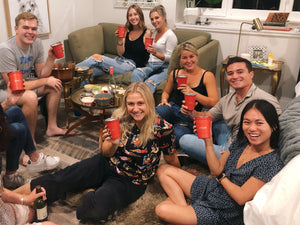 Load image into Gallery viewer, seven friends at a wine and cheese night holding supcups