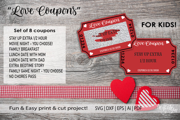 Valentine Love Coupon Kids Scratch Off SVG | DXF | PDF File