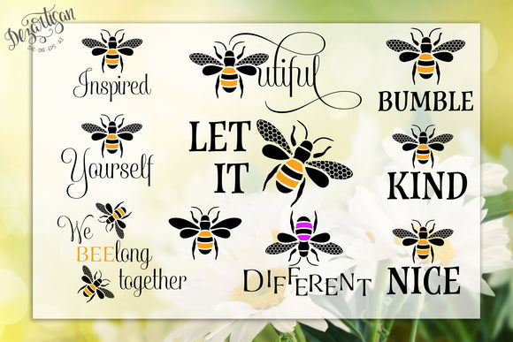 Bee Inspired | Bee Kind | Bee Bundle SVG | DXF for Cricut & Silhouette