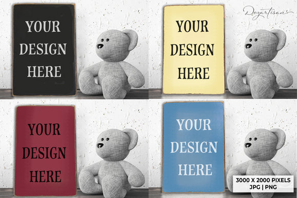 Nursery Wood Sign Mock Up with Teddy Bear