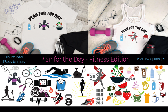 20DZA2022 Plan for the day Fitness Edition Premium SVG | DXF Cut Files for Cricut and Silhouette Cutting Machines