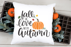 Fall in Love with Autumn SVG | DXF Cricut Silhouette Cut Files. File formats are: SVG | DXF | EPS | AI