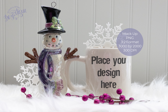 Christmast Winter White Mug Snowman PNG Mock Up