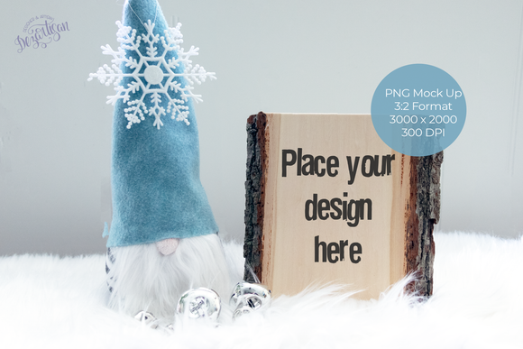 Christmas WInter Gnome and Wood Slice PNG Mock Up