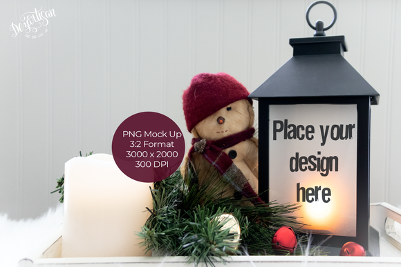 Christmas Lantern with Snowman PNG Mock Up