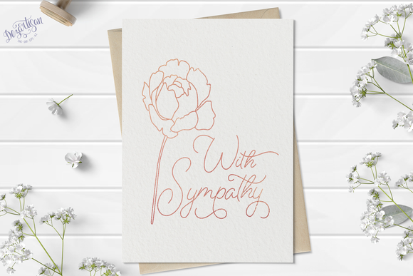 With Sympathy Flower Foil Quill Single Line Design SVG - Gloforge