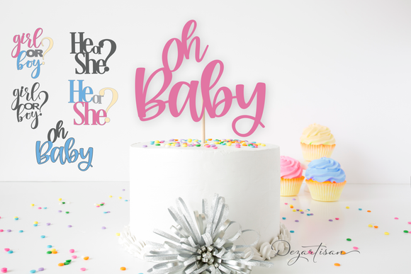 Gender Reveal Cake Topper Premium Cut File SVG | DXF for Cricut & Silhouette Cutting Machines