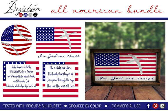 All American Patriotic Bundle Premium Cut File SVG | DXF Cricut Silhouette Cut Files