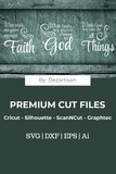 DZA0036 With God all things Premium Cut files for your Cricut or Silhouette Cutting Machines. File formats include SVG | DXF | EPS | Ai.