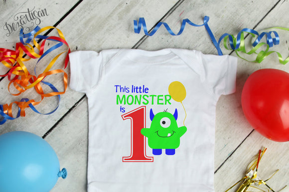 DZA0039A This Little Monster First Birthday  Premium Cut files for your Cricut or Silhouette Cutting Machines. File formats include SVG | DXF | EPS | Ai.