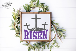 DZA0043E Easter He is Risen Premium Cut files for your Cricut or Silhouette Cutting Machines. File formats include SVG | DXF | EPS | Ai.