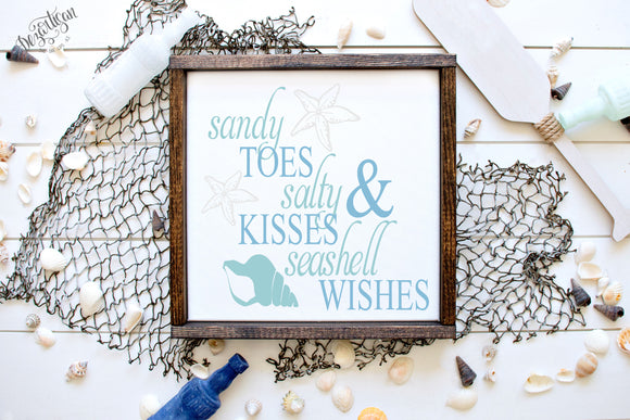DZA0051D  Sandy Toes & Salty Kisses premium cut file SVG | DXF for Cricut & Silhouette