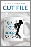Let It Snow Ice Skating Premium Cut File for your Cricut & Silhouette Cutting Machines. File Formats are SVG | DXF | EPS | Ai