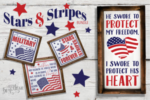 Patriotic Stars & Stripes Bundle Premium Cut Files SVG | DXF Cricut Silhouette Cut Files