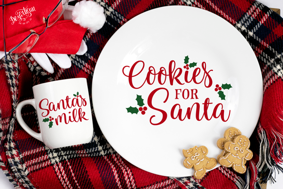 Santa's Cookies and Milk Premium Cut File for your Cricut & Silhouette Cutting Machines. File Formats are SVG | DXF | EPS | Ai