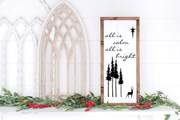 All is calm winter scene Premium Cut File for your Cricut & Silhouette Cutting Machines. File Formats are SVG | DXF | EPS | Ai