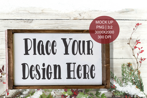 Copy of Christmas Winter Farmhouse Wood Frame Sign  PNG Mock Up Horizontal for small business crafters