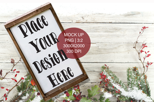 Christmas Winter Farmhouse Wood Frame Sign  PNG Mock Up Tall for small business crafters