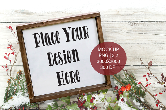Christmas Winter Farmhouse Wood Frame Sign  PNG Mock Up Square for small business crafters