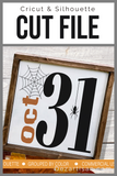 Oct 31 Halloween Premium Cut File for your Cricut & Silhouette Cutting Machines. File Formats are SVG | DXF | EPS | Ai