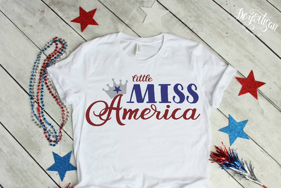 Little Miss America Patriotic Fourth of July Premium Cut Files SVG | DXF Cricut Silhouette