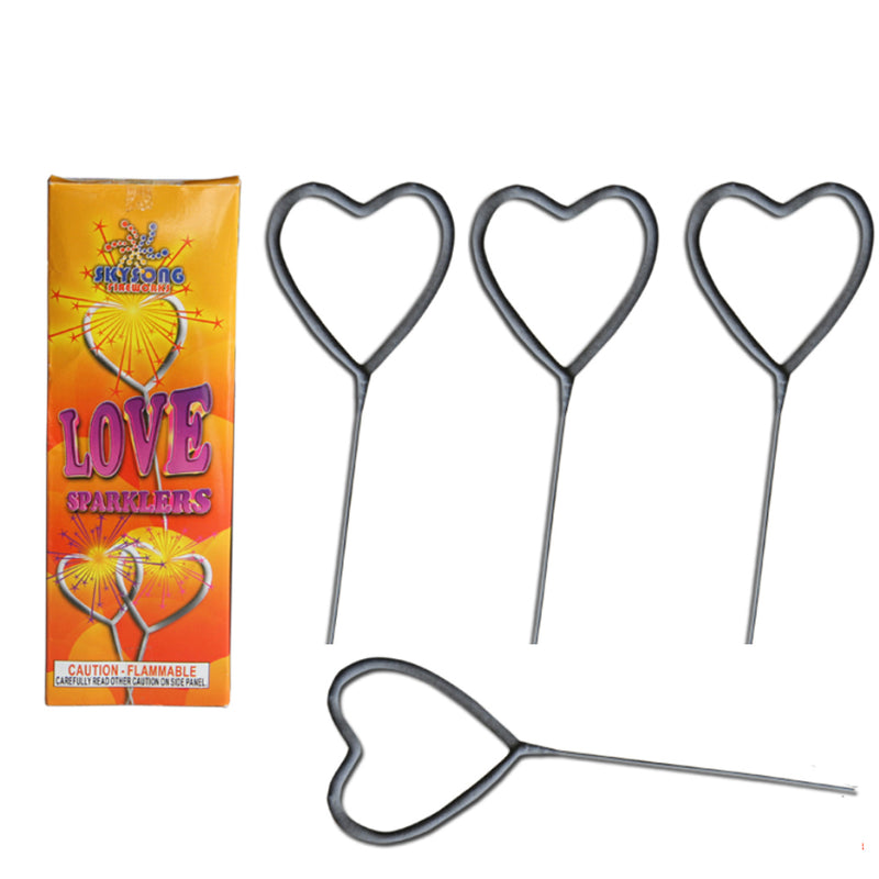 "7"" Heart Shape Love Sparkler 12 pcs Pack"