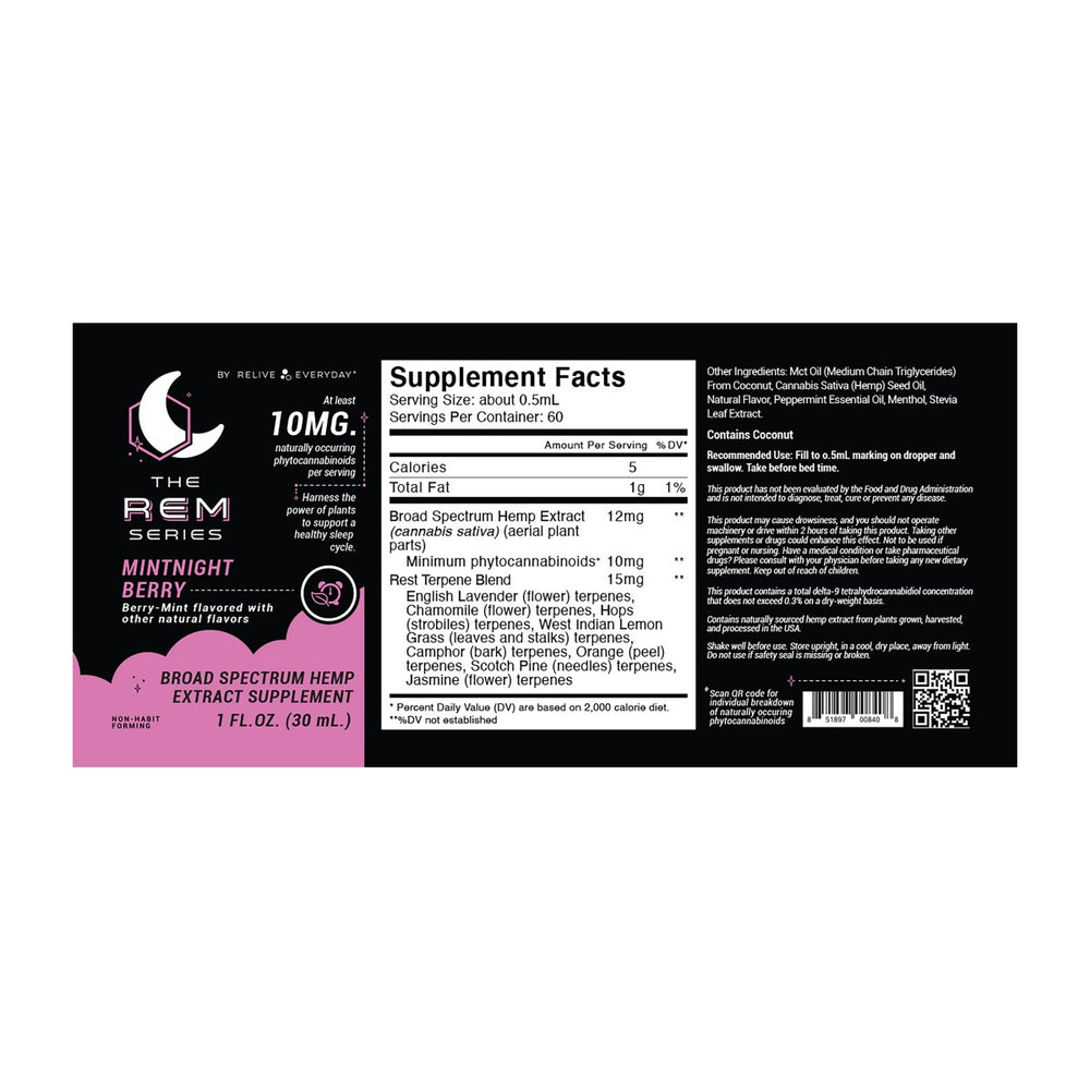 The REM Series Sleep Tinctures 600mg Various Flavours