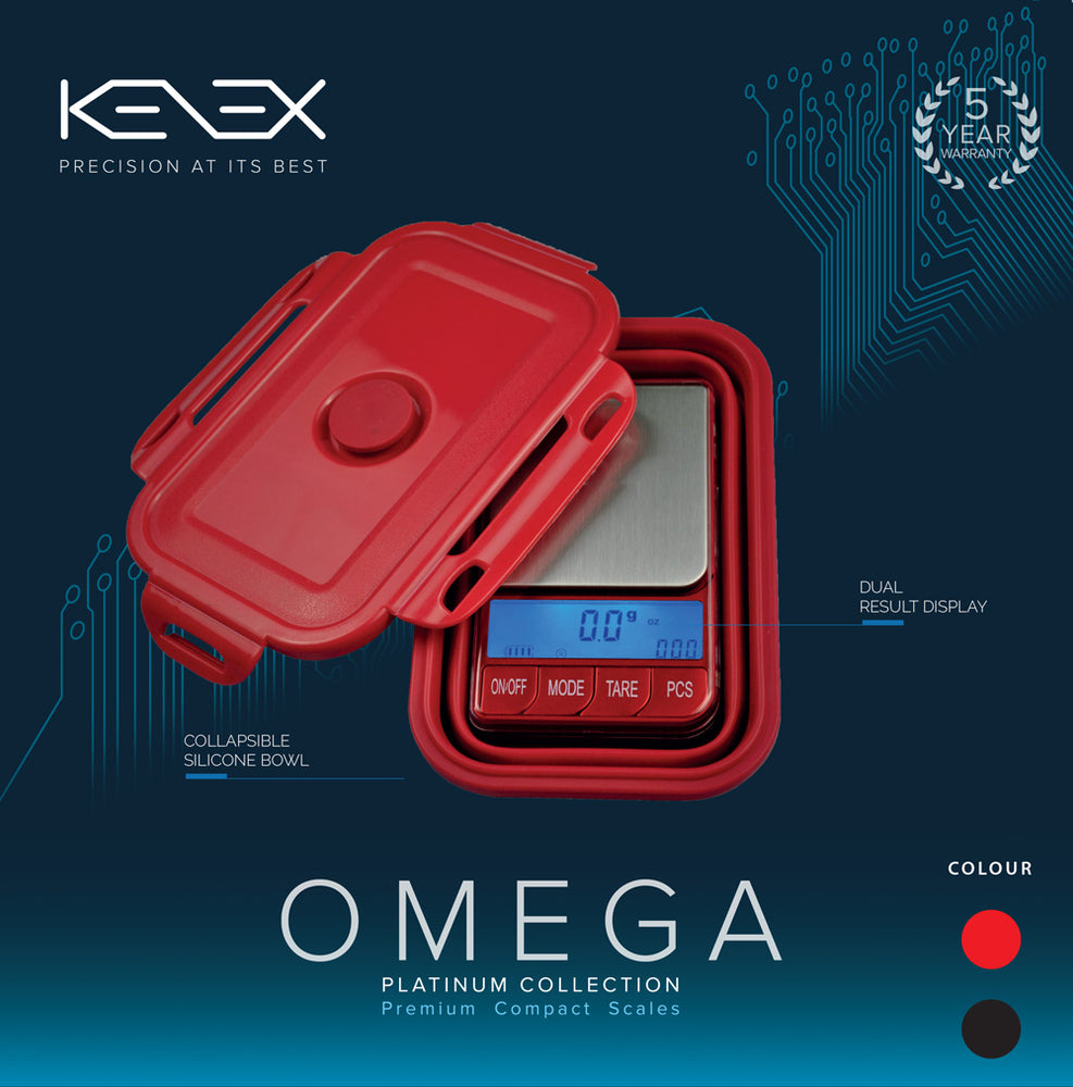 Omega Collapsible Silicone Bowl Digital Precision Scales 0.01g (Platinum Collection) by Kenex
