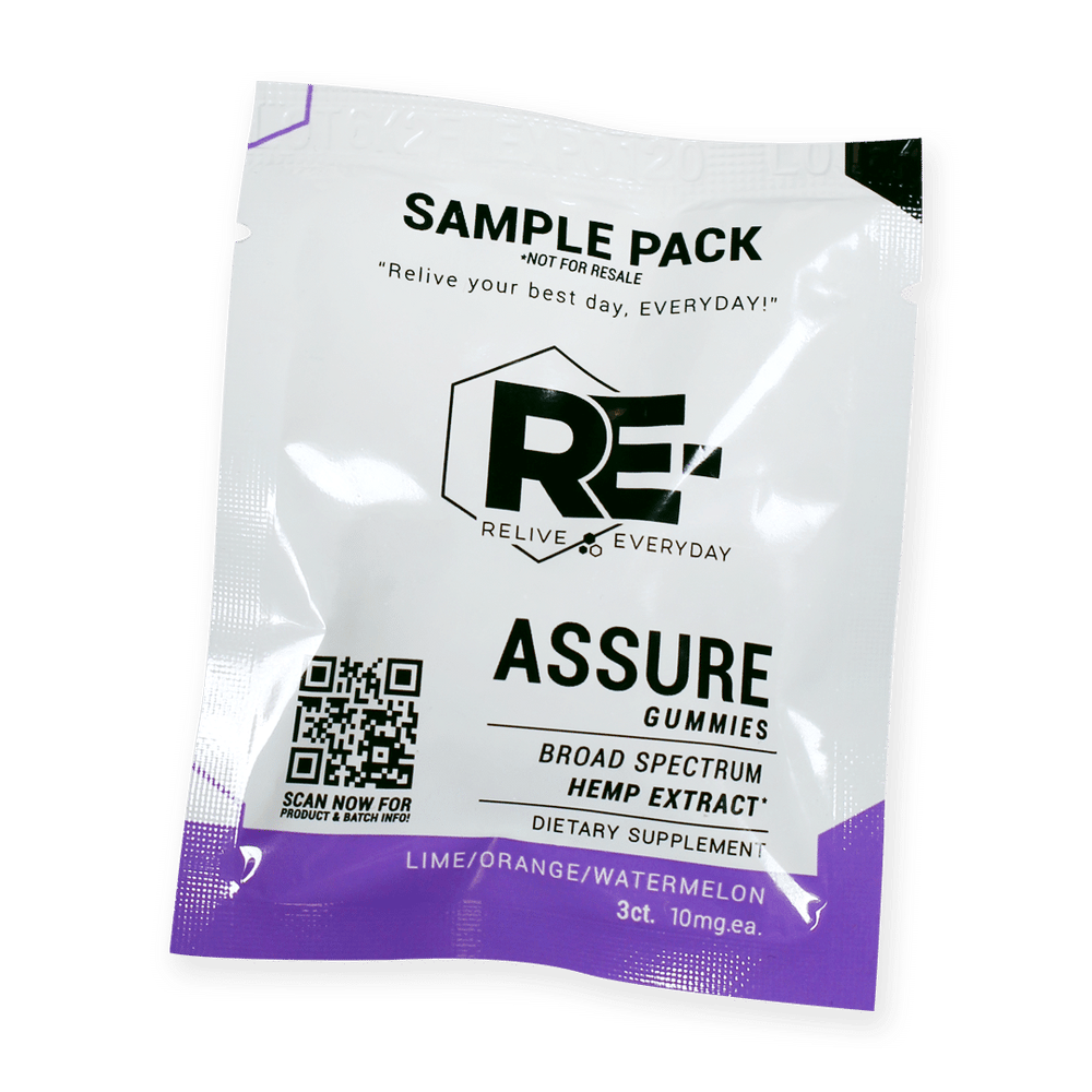 Relive Everyday – RE-ASSURE 10mg Hemp Extract Gummies – Various Flavors – SAMPLE SIZE