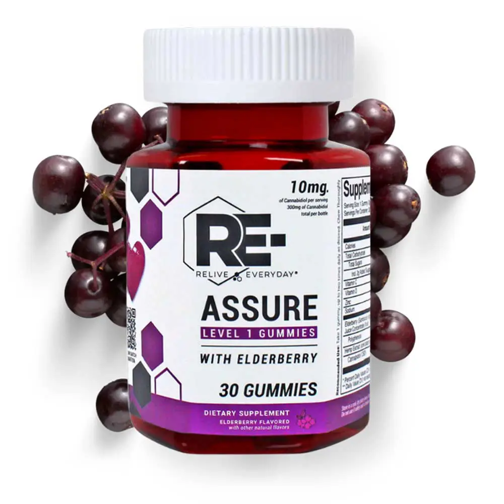 RE-ASSURE IMMUNE SUPPORT Vegan CBD Gummies 10mg Per Gummy