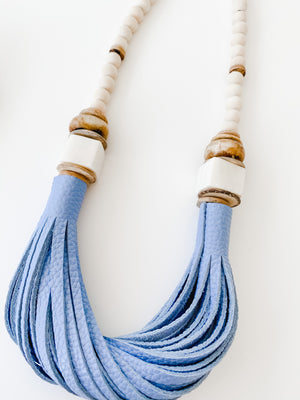 The Daly Necklace - Fall Blue Leather
