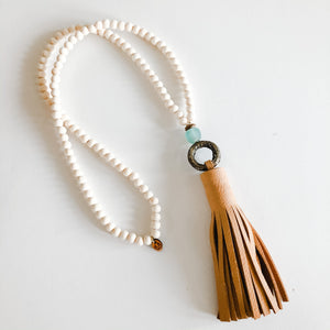 Spring Beige Leather Tassel + Brass Ring Necklace