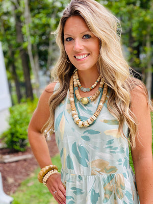 Fall Double Clyda Necklace in Seafoam