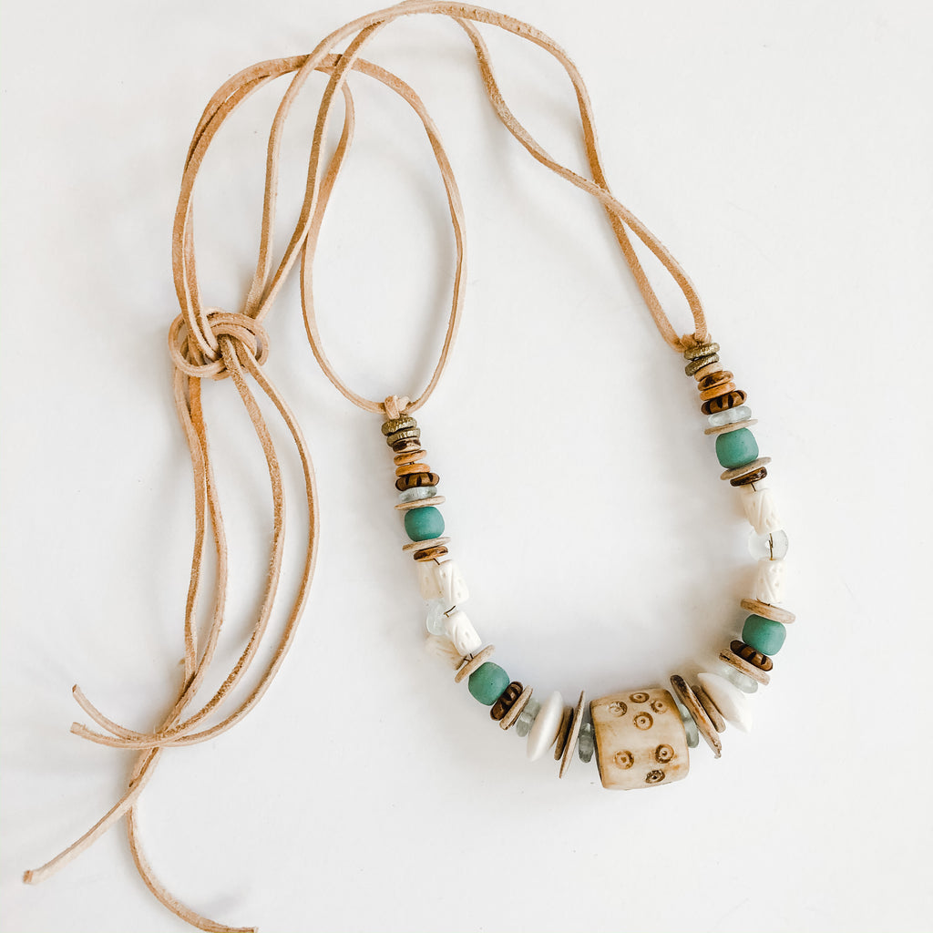 Clyda Necklace in spring tones - Great Layering Piece