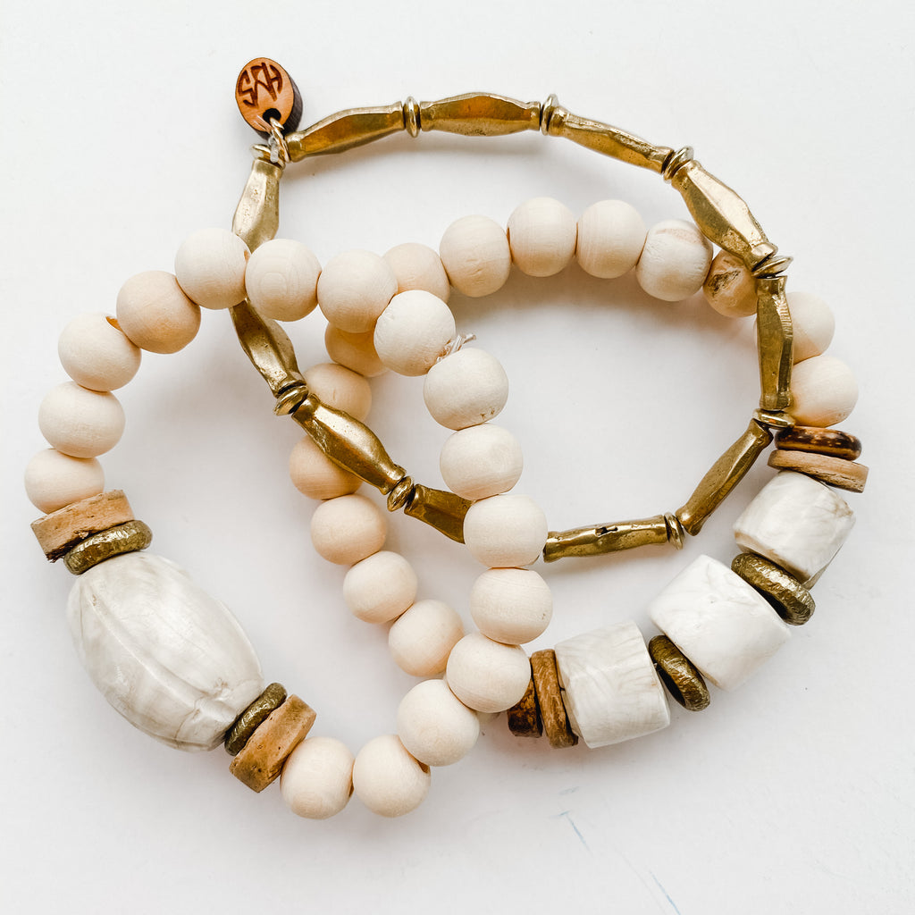 Sea to Sand - Summer Brass and Naga Shell Bracelet Stack