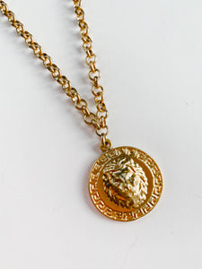 Finer Things Necklace - Fall Lion Coin Pendant | Chain