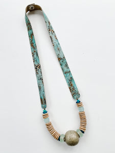 Simply Stated-  Turquoise Leather Strap Necklace