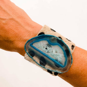 Hide on Hair Cheetah Cuff | Blue Agate  - A HS Favorite