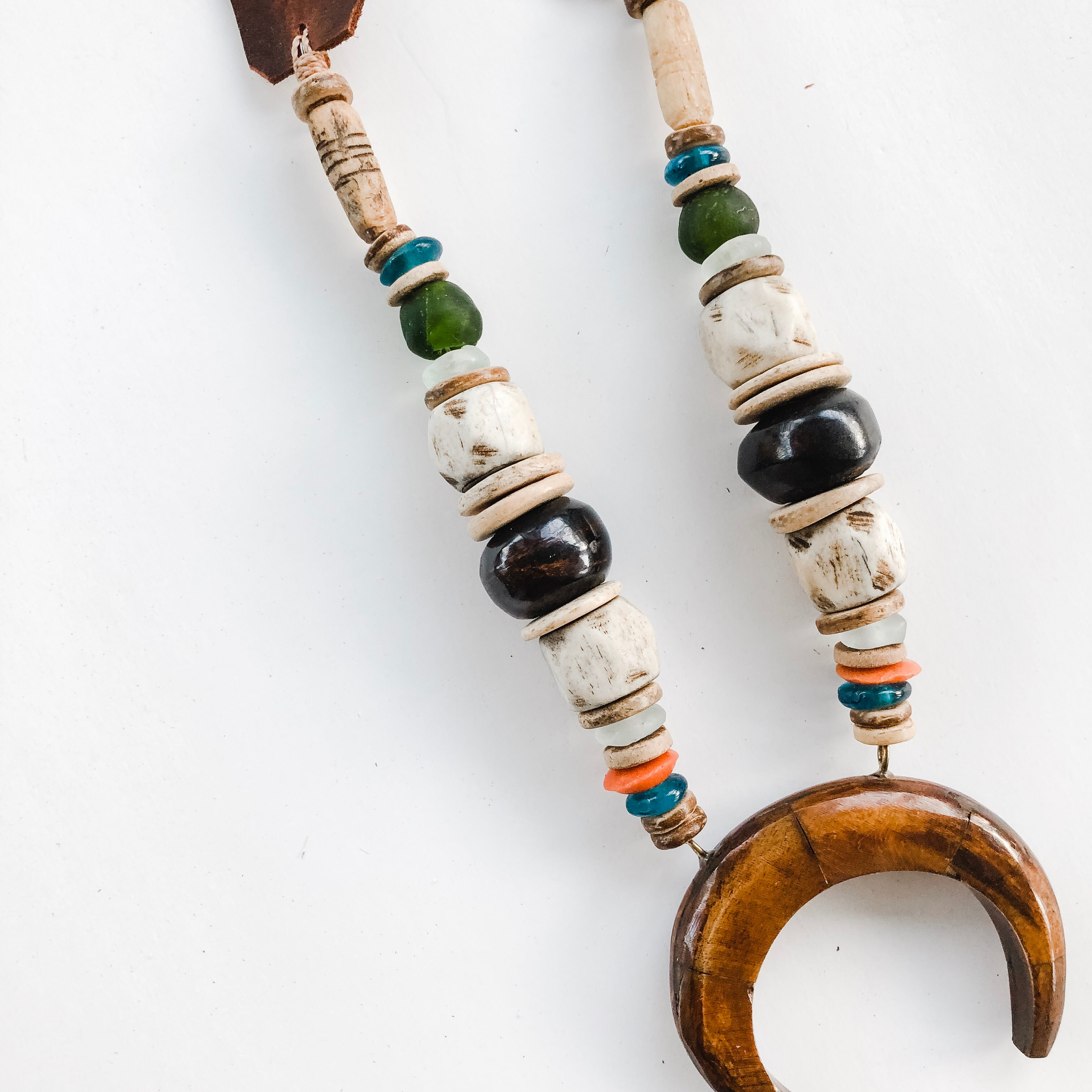 Beaded Horn Pendant Necklace - Fall 2019