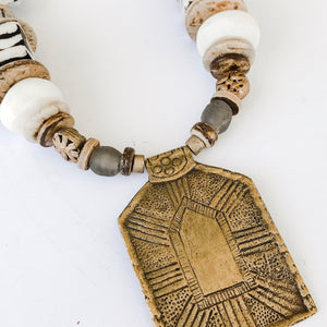 Brass Rectangular Pendant Necklace | Cheetah Strap