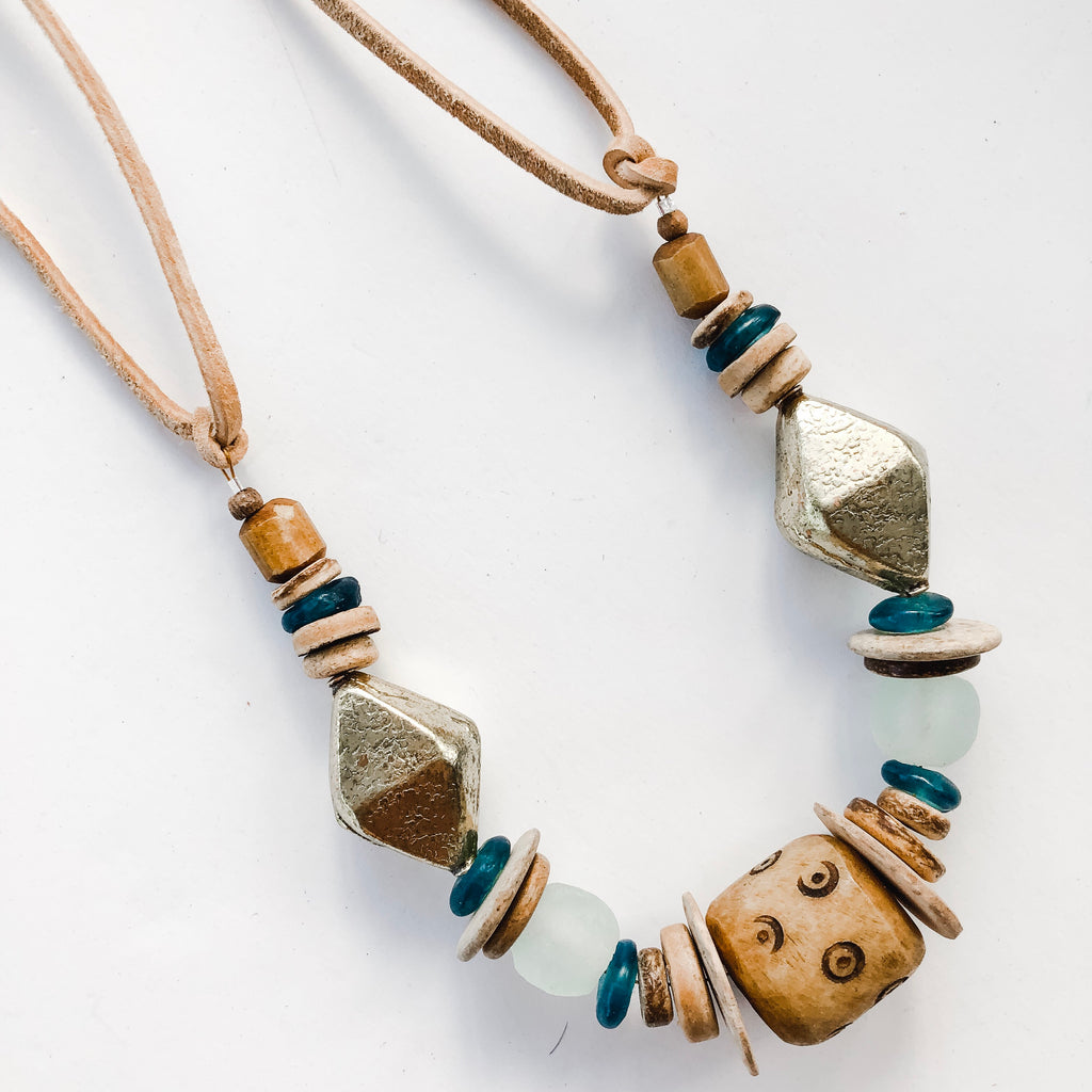 Clyda Necklace in Seafoam/Brass- Great Layering Piece