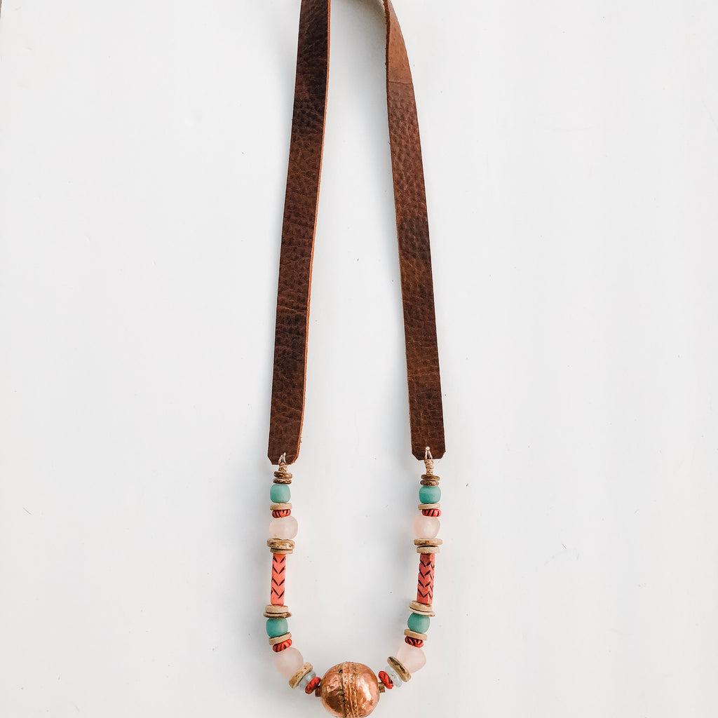 Allie Necklace - Leather and Copper