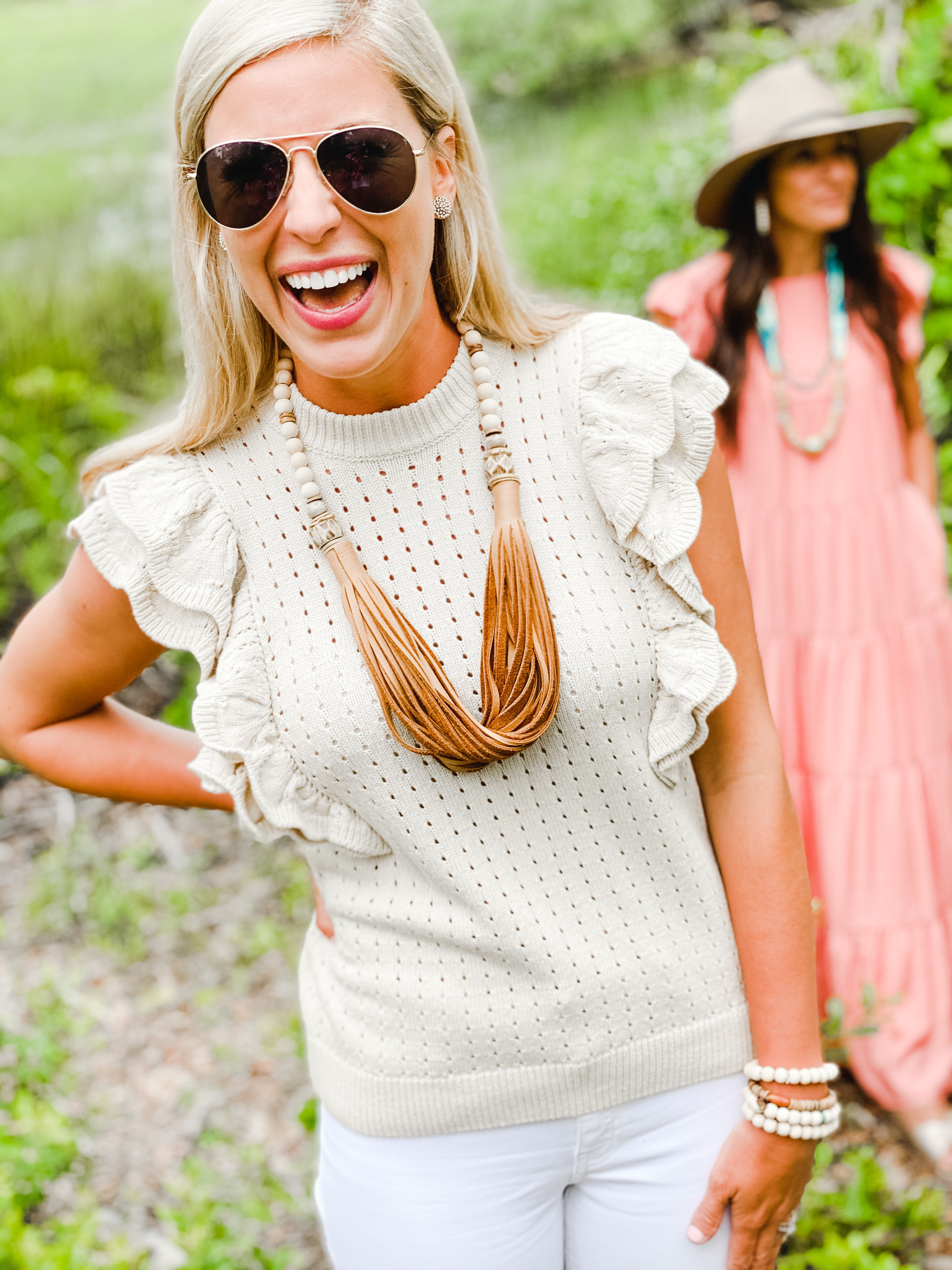 The Daly Necklace - Summer Beige Leather
