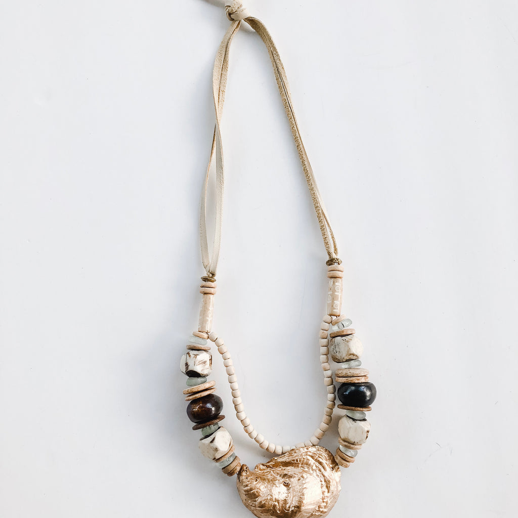 Sea to Sand Necklace - Oyster and Leather Laces - A Fall Favorite